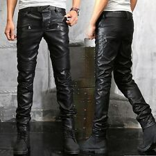 Mens Fashion Punk Rock Black Faux Leather Motorcycle Slim Fit Pants Trousers HOT