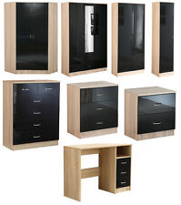 High Gloss Black on Oak Modern Bedroom Furniture, With Chests, Bedsides, Robes