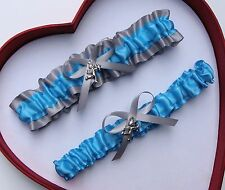NEW Gorgeous Turquoise Silver Wedding Garter Prom Homecoming GetTheGoodStuff A+