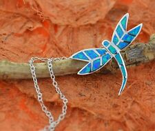 "Blue Opal Dragonfly Pendant w/18""Chain-Sterling Silver-Dragonfly Necklace,Summer"