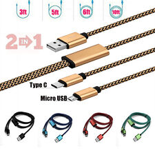 1-3M Fabric Braided Type C&Micro USB 2in1 Rapid Charger Sync Data Cable Cord Lot