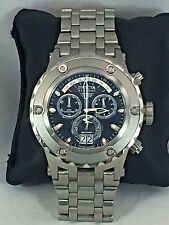 Mens Invicta 1566 Subaqua Stainless Steel Bracelet Black Chronograph Dial Watch