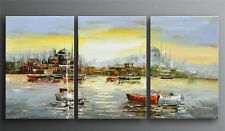 Hot Hand-Painted Seascape Boat Landscape Art Oil Painting Home Decor With Framed
