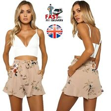 Fashion Womens Ladies High Waist Summer Casual Floral Beach Hot Pants Shorts UK