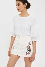 TOPSHOP *MOTO White Floral Embroidered Skirt* SIZE_UK6_8_10_12_14_16