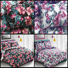 Tropical Floral Black Duvet Cover & Pillowcase Set Bedding Single Double King