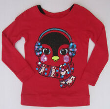NWT Justice Girls Christmas Holiday Red Penguin Sweatshirt Size 6 NEW