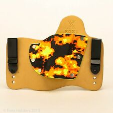 FoxX Leather & Kydex IWB Holster (Pick Your Gun) Natural & Fire Storm Right draw