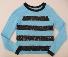 Justice girls aqua blue black sequin sparkly striped sweater size 5 6 7 NEW