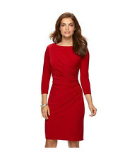 BRAND NEW CHAPS by RALPH LAUREN WOMEN'S RUCHED SHEATH DRESS RED SIZES M-XL
