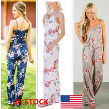 ZNU Womens Floral Sling Sleeveless Jumpsuit Rompers Long Pants Trousers Jumpsuit