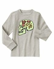 Nwt Gymboree Halloween Shop Gray Candy Brain Skull Shirt Size 4/5
