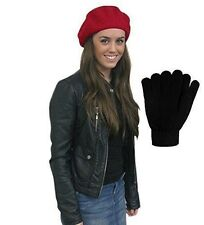 Wool Beret - Black French Berets with Winter Magic Gloves by CoverYourHair