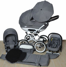 Pram Leder - Pushchair Buggy Stroller+Car Seat, Modern Travel System 3 in1