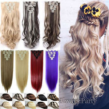 Real Natural 100% Thick Clip In Hair Extensions 8Pcs 18Clips On Straight Wavy PE