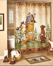 Country Cabin Bathroom Collection Rug Shower Curtain Hand Towels Toilet Brush