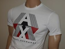 Armani Exchange Authentic AX Optic Pieced Logo T Shirt White or Red NWT