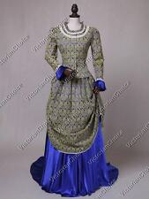 TOP Quality Victorian Edwardian Brocade Bustle Dress Gown Theater Reenactor 131