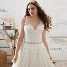 2017 New Plus Size White / Ivory V-neck Lace Wedding Dress Stock Size UK 18--30