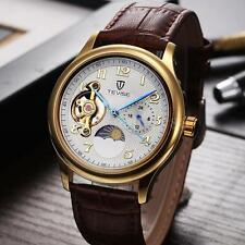 Mens Moon Phase Automatic Mechanical Watch Hollow Skeleton Leather Strap R6O9