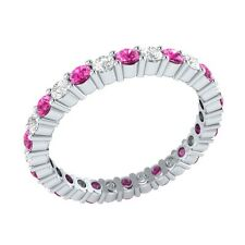 0.99 ct Pink & White Sapphire Solid Gold Full Eternity Wedding Band Ring Size O