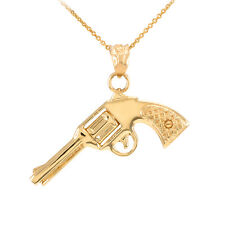 GUN REVOLVER PISTOL 14kt SOLID YELLOW GOLD PENDANT NECKLACE