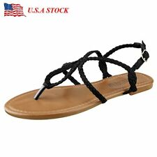 Womens Summer Gladiator Flip Flop Flat Sandals Braid Strap Toe Thong Beach Shoes