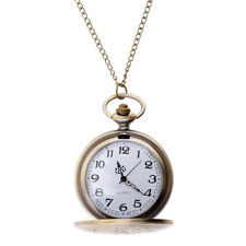 Retro Vintage Antique Steampunk Bronze Pocket Watch Quartz Necklace Pendant