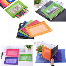 Zippered Binder Pencil Case with Rivet Hole Pencil Pouch School Organizer