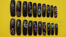20 Full Well Extra Long Square Nails Sweet Plum 3D nail art acrylic and glitter