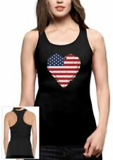 Love USA  4th of July American Patriotic Heart Flag Racerback Tee Tank Top Gift