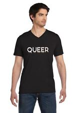 Queer Gay Love Pride Rainbow Flag V-Neck T-Shirt lesbian equality symbol