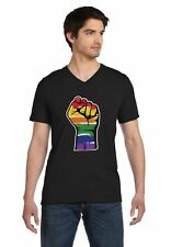 Resist Pride Parade Gay Rainbow Fist Flag V-Neck T-Shirt Gays Rights