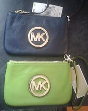 NEW MICHAEL KORS LEATHER FULTON WRISTLET WALLET MSRP 98. PICK COLOR NAVY OR PEAR