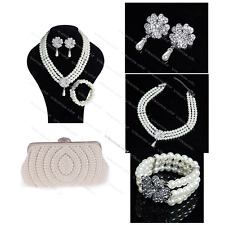 Wedding Party Jewelry Accessories Beads Pearl Necklace Earrings Bracelet Clutch