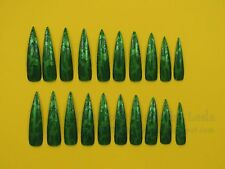 20 Full Well Extra Long Stiletto Nails Green Camo Crackle/Shatter
