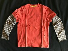 NEW Mini Boden RED faux layered BROWN STRIPED raw edge LS t-shirt tee BOYS 11 12