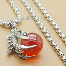 """Dragon Claw Red Agate Stainless Steel Biker Pendant Chain Necklace 18""""-32"""" ED292"""