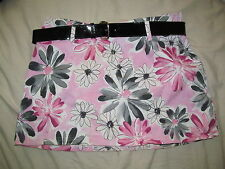 hippy retro A-line floral PINK MINI skirt black patent belt RAVE STRETCH 15