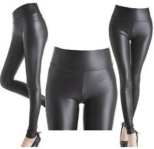 HIGH WAIST Wet Faux Leather Look Matt Leggings Jeggings Tight Pants