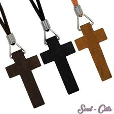 Wood Cross pendant Crucifix Cross Chain black brown beige
