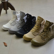 Men Army Tactical Comfort Ankle Boots Casual Canvas Lace-up Outdoor Shoes