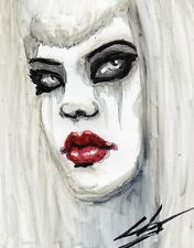 Pensive by Shayne of the Dead Crying Goth Woman Tattoo Artwork Canvas Art Print
