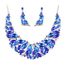 Gold Plated Crystal Jewelry Set For Brides Bib Necklace Earring Wedding Prom