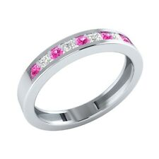 0.25 ct Round & Princess Cut Pink & White Sapphire Solid Gold Half Eternity Ring