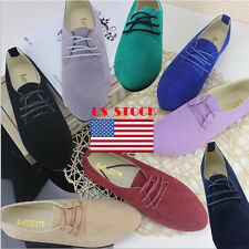 US Womens Lace Up Suede Ballerina Pumps Casual Shoes Loafers Flat Slipper Ballet