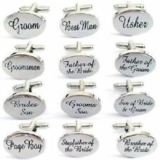 WEDDING CUFF LINKS-Best Man, Groom, Father of the Bride,Usher OVAL SILVER-BAG