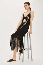 TOPSHOP *Black Embroidered Fringe Slip Dress* SIZE_UK6_8_10_12_14_16