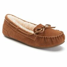 SO Brown Faux Suede COMFORT Faux Fur Lined Moccasin Shoes NWB Size 8.5  9  10