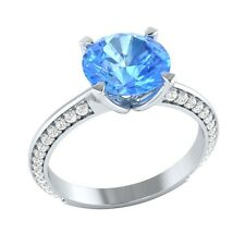 2.25 ct Blue Topaz & White Sapphire Solid Gold Wedding Engagement Ring